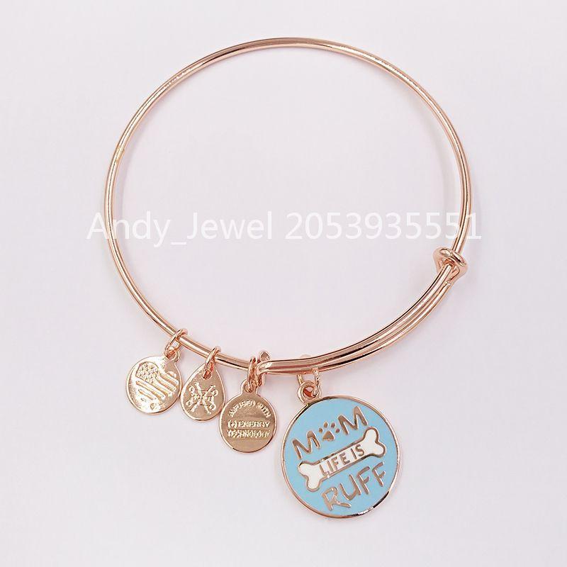 Аутентичная 925 стерлингового серебро подвеска Mom Life Is Ruff расширяемой проволока браслет Блестящее розовое золото Подходит медведь Европейских стиль украшения подарка 1009306