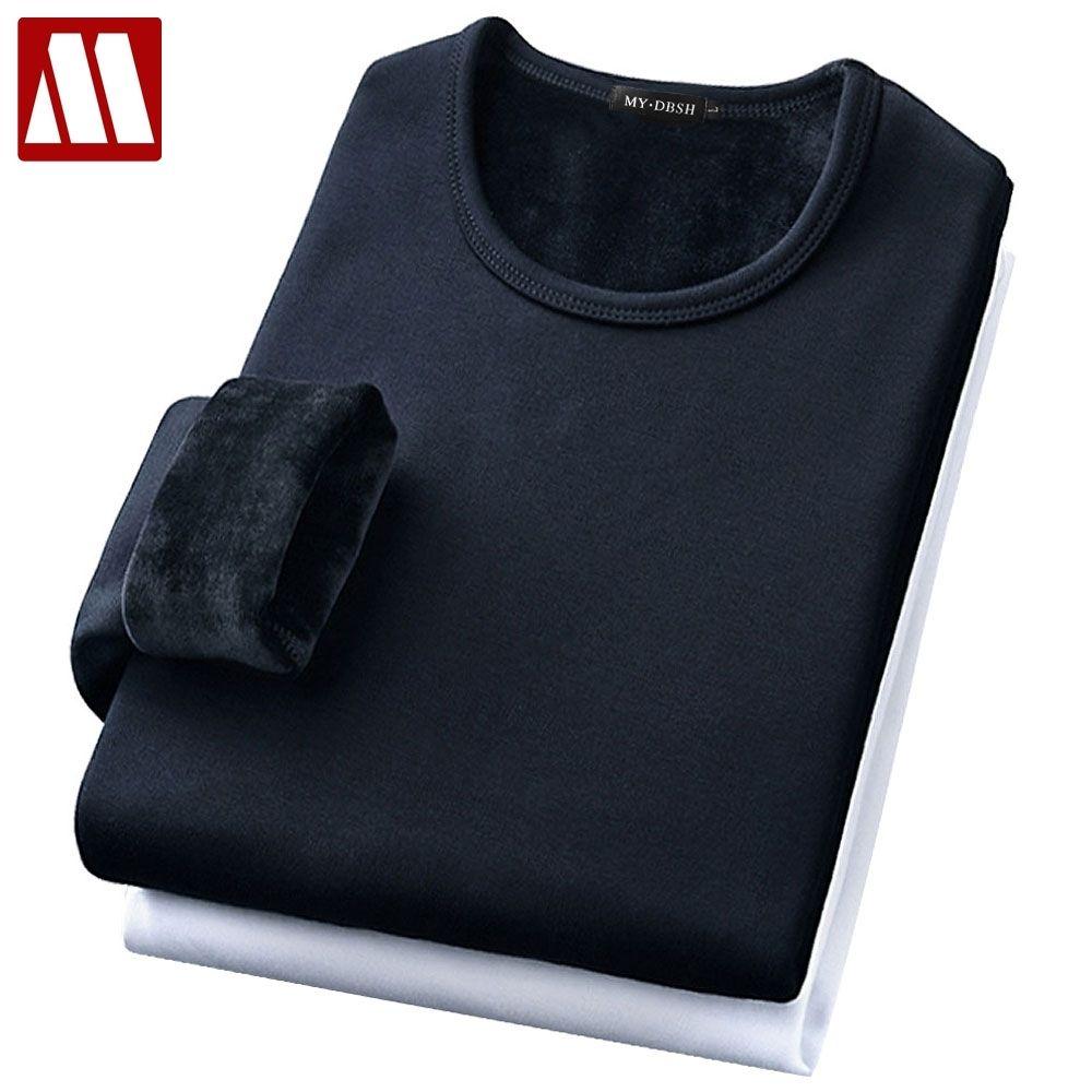 Male Underwear Shirt O-Neck Winter Bodysuit Mens Warm Thermal Undershirts Plus Velvet Basic Tops Man Cotton Undershirt Tshirt Y200611