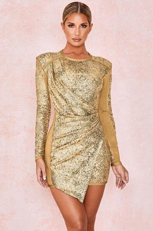 KLEEZY New Gold Sequined с длинным рукавом бинты Bodycon платье женщины ночного клуба партии вечера весна осень-зима платья HcR2 #