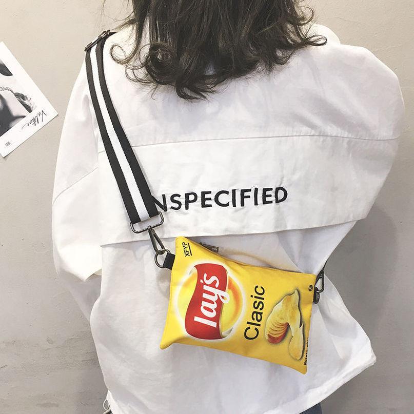 Komik Patates Cips Kadınlar Crossbody Çanta 2020 Moda Canvas Omuz Çantası Mini Karikatür Baskı Kız Zarf Çanta Kadın Çantası