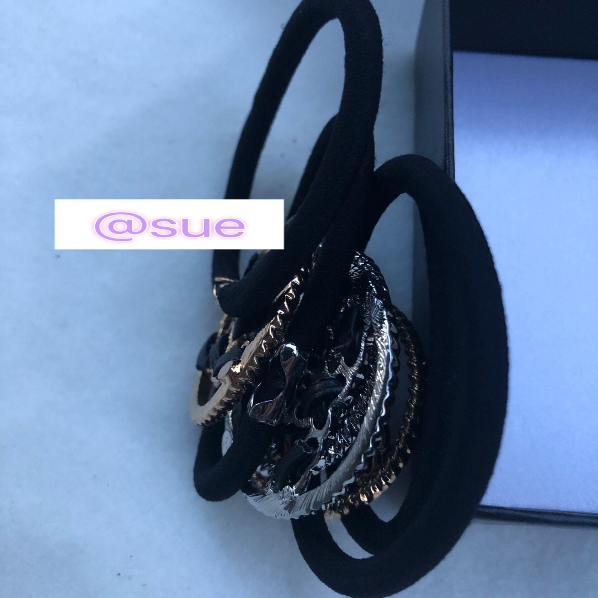 4CM fasion metal circle CC chain hair tie luxury hair rope allloy elastic hair tie VIP gift with card