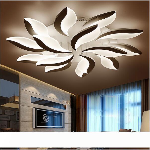 Плафон Современные акриловые светодиодные потолочные светильники Потолочные Leaf Люстры для гостиной Кабинет Спальня Лампе в помещении Потолочные светильники
