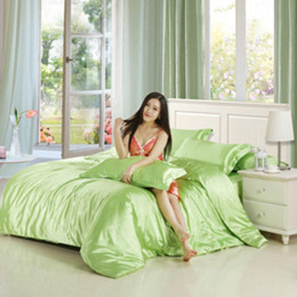 Fresh green silk bedding set with sheet pillowcases Wholesale Bed Cover Suit Simple style 2/3pcs with pillowcase of Home Textiles