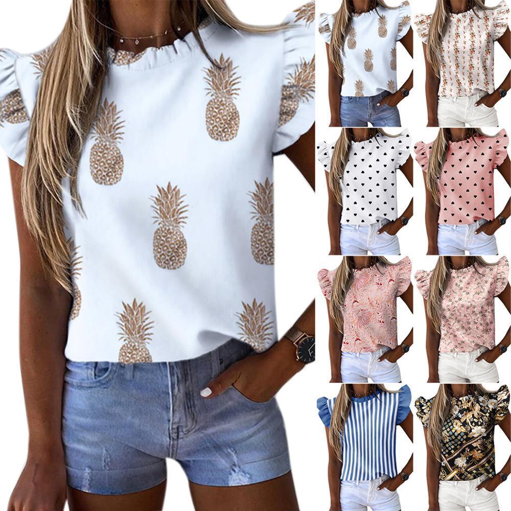 Vicabo Womens Camiseta Verão Ruffles mangas abacaxi Dot listrado impressão T Shirt 2020 New O Neck Feminino Túnica Ladies Tops Hot MX200721