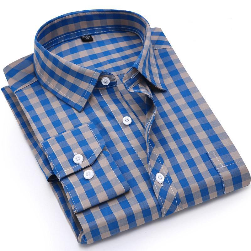 Hommes Chemise à carreaux 100% coton Printemps Automne Casual Chemise à manches longues Soft Comfort Slim Fit Styles Vêtements Marque Homme CX200801