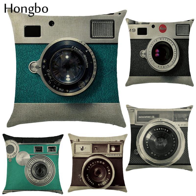 هونغبو خمر النمط الكلاسيكي الديكور رمي كيس المخدة كاميرا أسود أبيض غطاء وسادة أريكة الرئيسية Almofadas بالجملة