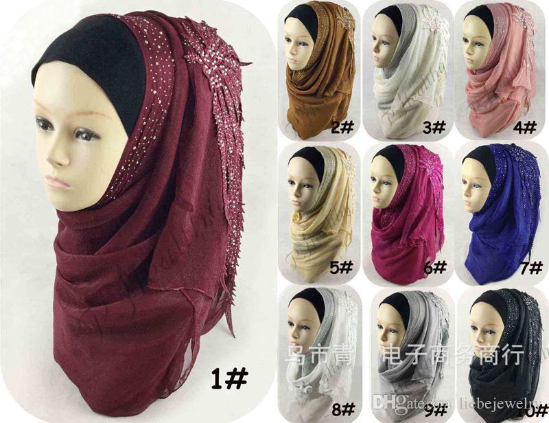 Plain Viscose Hijab Qualitäts-Trikot Hijabs Caps Silk Muslim Schöne Hochzeit Geschenk mit Diamant-Blumen-förmigen Spitzenschal