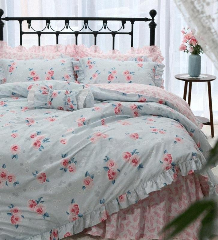 Pastoral Blue Pink Flower Bedding Set,Full Queen King Cotton Sweet Floral Double Home Textile Bedspread Pillow Case Duvet Cover Cheap Xrbu#