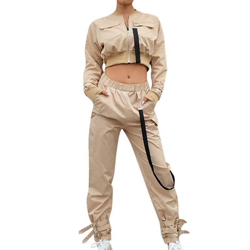 Damen-Oberbekleidung Set Crop Bomber-Mantel-Frauen-Flecken Langarm Herbst Weibliche Tasche Pin Buckle Zipper Street Jacke 2020 New