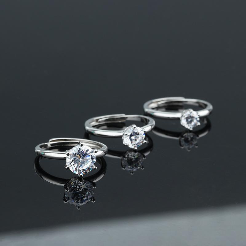 Anillo de plata S925 hembra joyería europea y la propuesta de anillo de diamantes de simulación sencilla de circón estadounidense anillo de bodas