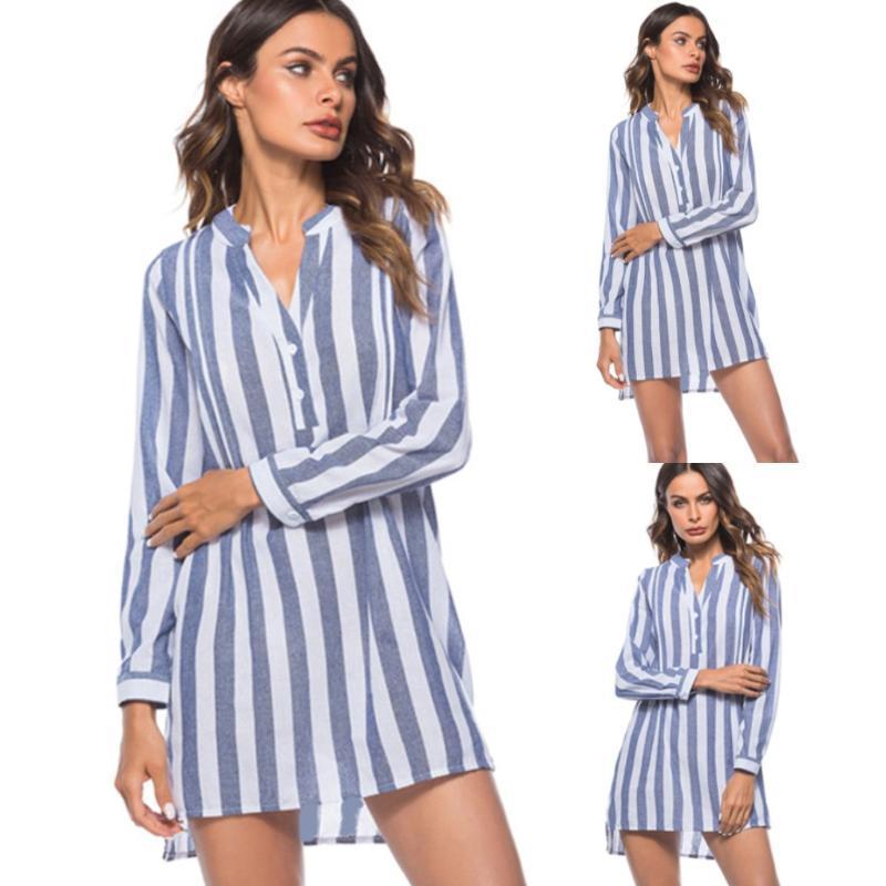 الإناث أزياء الربيع مخطط مطبوعة قميص المرأة البلوزات الصيفية طويلة الأكمام الخامس الرقبة قميص سيدة أنيقة بلوزة الأعلى