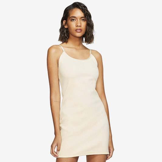 Spaghetti Strap Women Dress Knit Summer Fashion Sport Active aderente abiti senza maniche di colore puro traspirante vestito dalla matita sopra il ginocchio