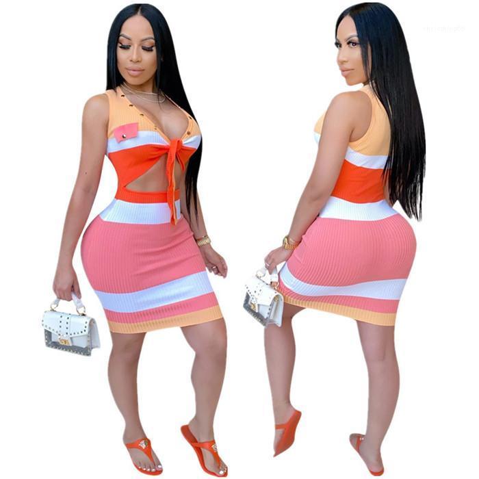 Scava fuori donne sexy vestito casuale delle donne Moda Slim signore aderente Mini vestiti da alta elastico abito estivo senza maniche