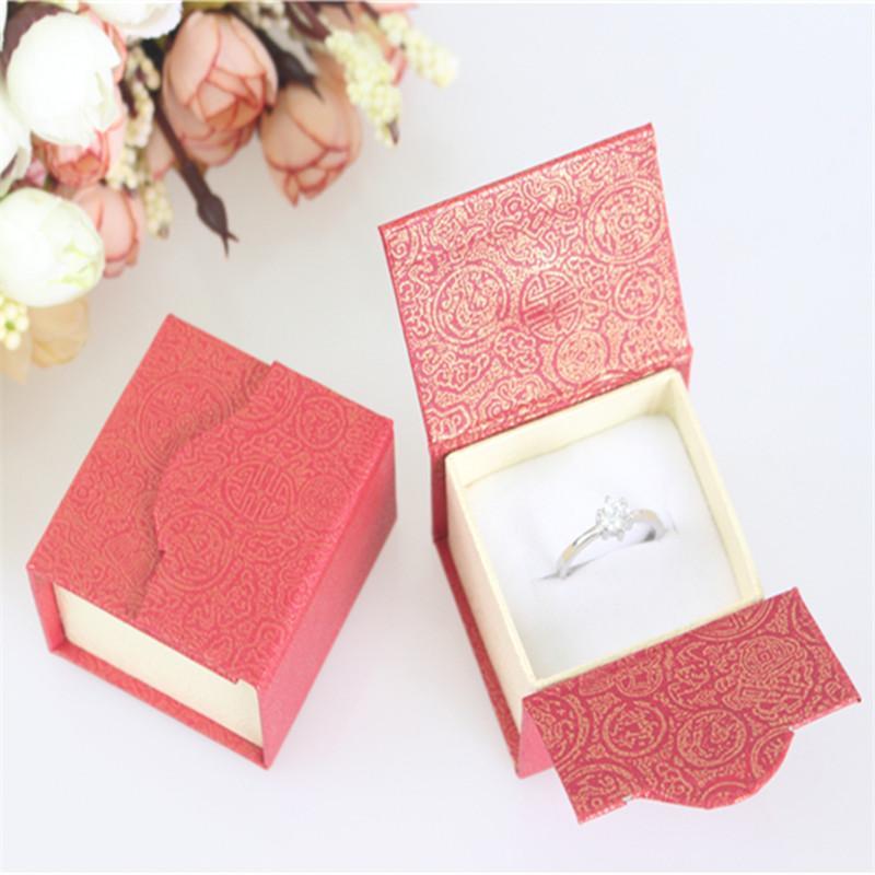 Yeni Tasarım Toptan 24pc / lot 5 * 4.5 * 3.5cm Kağıt Küpe Packaging Kutu İçin Düğün Mıknatıs Yüzük Hediye Kutusu