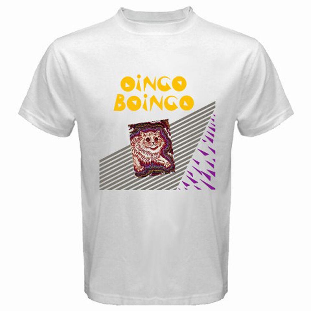 Camiseta blanca del tamaño S-3XL Nueva Oingo Boingo Cat Logo New Wave Rock Band Hombres