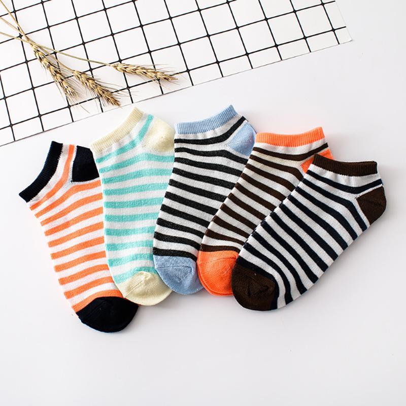 1 Harajuku Moda Par calcetines de las mujeres del nuevo del verano japonés rayada colorida pegan la corta de algodón salvaje divertido # LR2