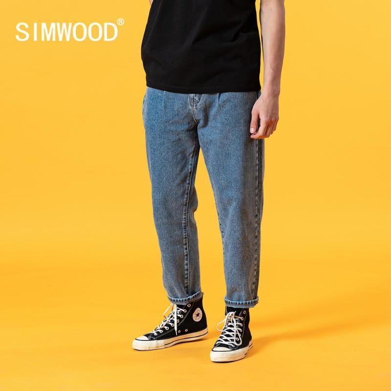 Jeans masculinos simwood 2021 verão solto homens cônicos clássica calças jeans plus tamanho 100% algodão tornozelo-comprimento jean sj130405