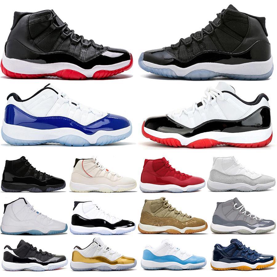 Baratos Nueva baja blanca Bred 11 11s Concord Azul 45 mujeres de los hombres zapatos de baloncesto de plata metálica tapa y vestido Gamma para hombre zapatillas Entrenadores