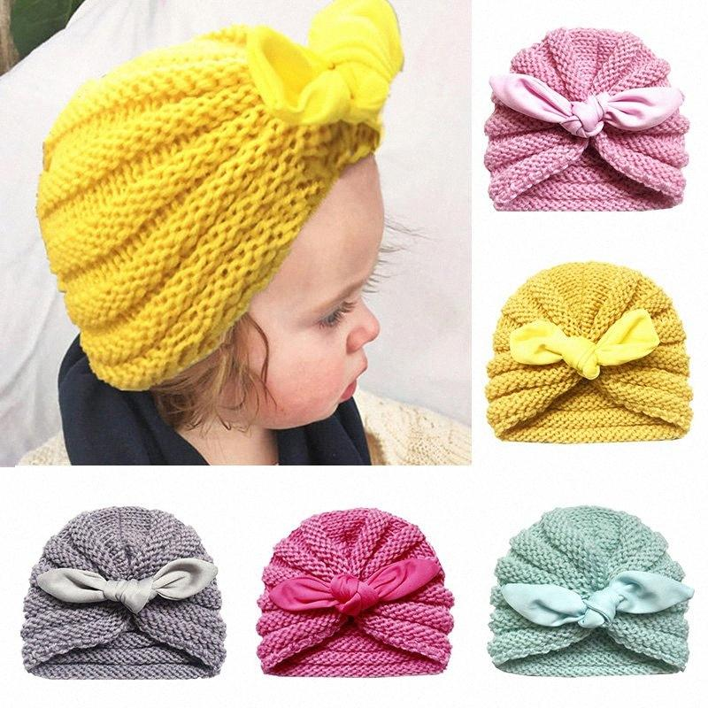 Cute Лук Baby Girl Hat Вязаные Уши Новорожденный мальчик Hat Тюрбан Bonnet зима теплая Дети Head Wrap Beanie Muts Vees #