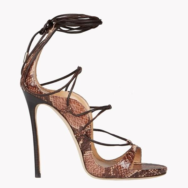 Neue Python-Leder-Lace Up Gladiator Sandalen Frauen Platforms Stilett-Absatz-Riemchen Sexy Ausschnitt Booties Frau Pumps