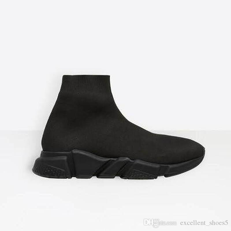 2020 Paris Triple S zapatos casuales de la moda calcetín Zapatos Speed Trainer Negro Rojo Triple Negro Calcetines zapatillas de deporte G53