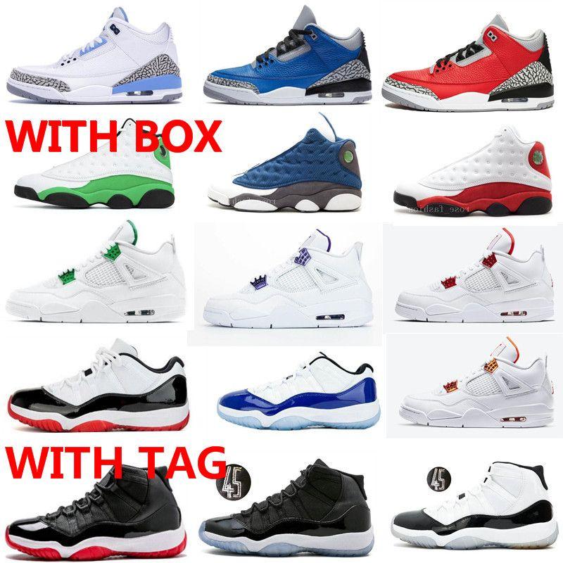 11 Düşük Bred Beyaz Mavi Concord Erkekler Kadınlar 11s Basketbol Ayakkabı 4 Metalik Turuncu Kırmızı Mor 13 Flint Şanslı Yeşil Sneakers ile Kutusu