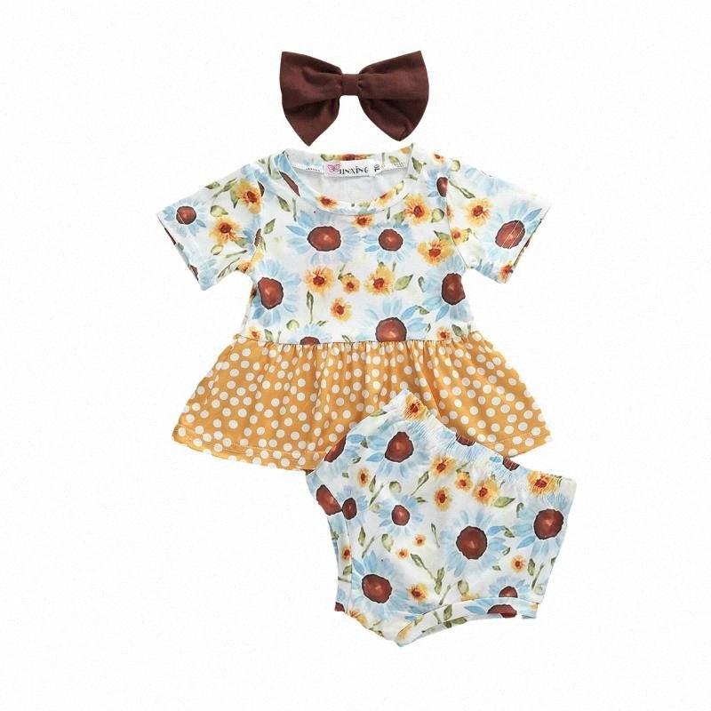 Bébé Vêtements d'été Nouveau-né bébé Patchwork Tops manches courtes Chemise PP Shorts Bandeau 3Pcs Tenues Floral 0-3Y Xqe8 #