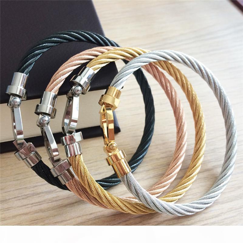 venta caliente de herradura tornillo de puño de acero inoxidable 316L pulsera brazaletes de hilo de alambre de metal de color para las mujeres aman eslabón de la cadena T D brazalete de alambre gótico