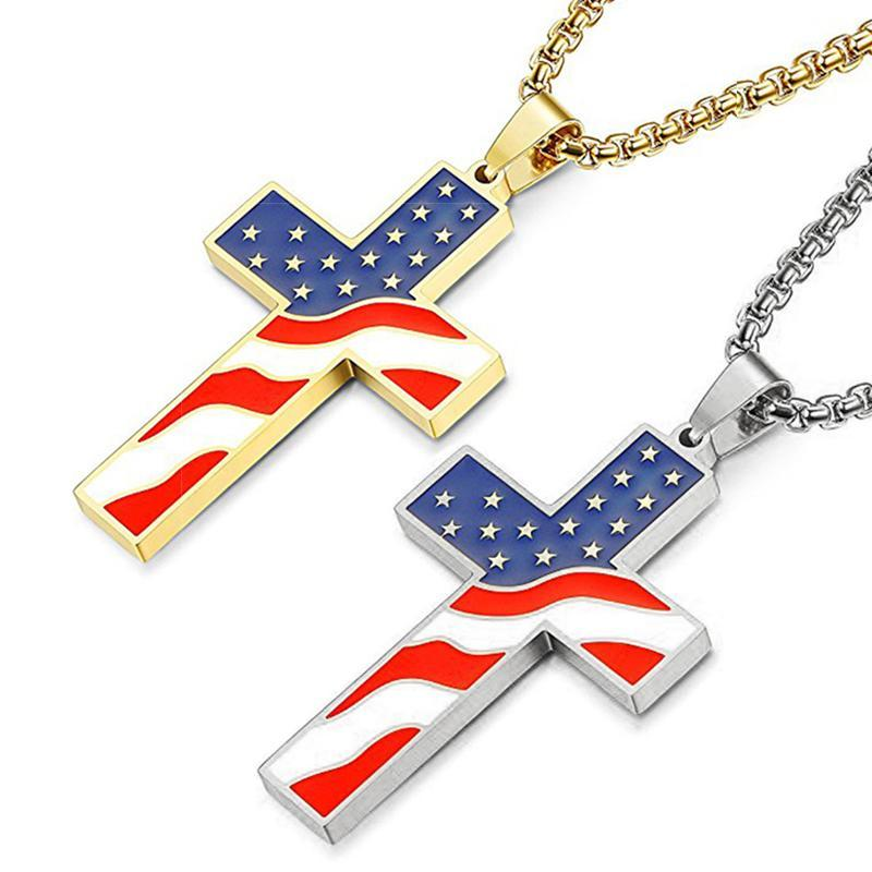 American Flag Necklace With Cross Pendant Enamel USA Flag Stainless Steel Patriotic Christian Jewelry Men Gold Silver 70cm Chain