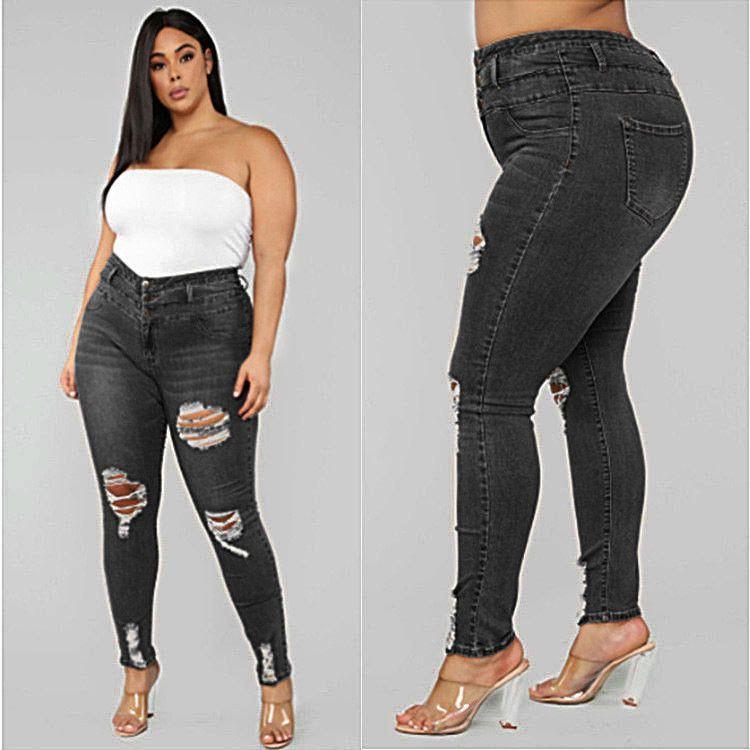 Designer Mulheres Jeans 2020 Womens cintura alta rasgado Plus Size Jeans Mulheres moda magro lápis calças das mulheres calças cor sólida