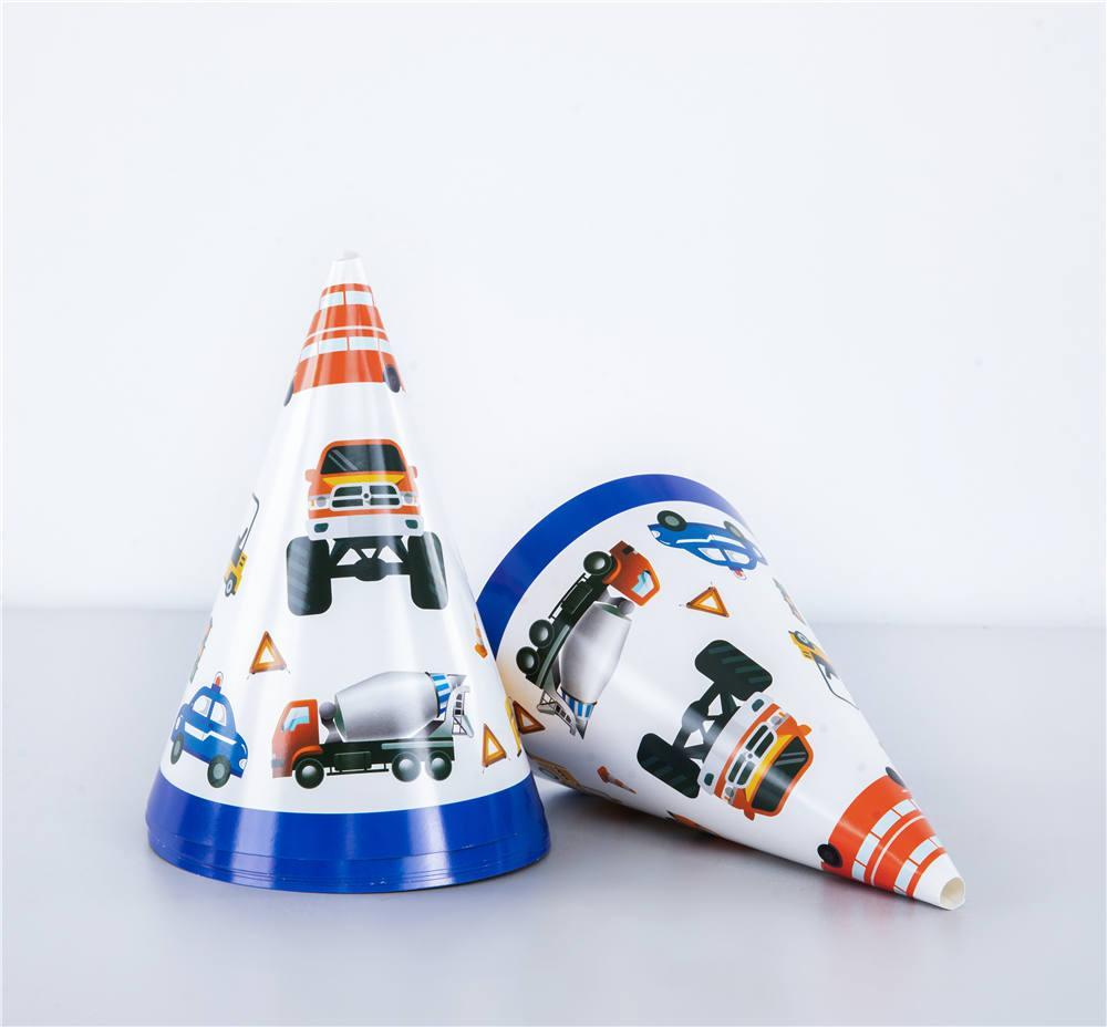 İnşaat araç tema parti şapka kağıt şapka çocuklar doğum günü partisi karikatür araba, malzemeleri giyinmek