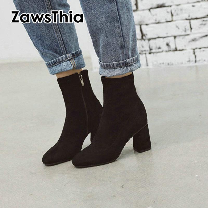ZawsThia inverno 2020 mulher tecido novo trecho booties bloquear botas de salto alto para as mulheres de cor sólida botas vermelhas grande tamanho 33-48