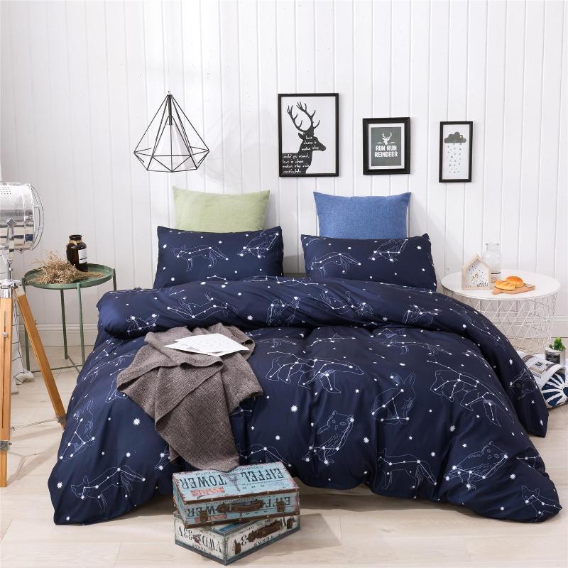 нордический пододеяльник набор одеяло печать дома одеяло комплект постельных принадлежностей с двумя Queen King кровать Постельные принадлежности Одеяло Наволочка