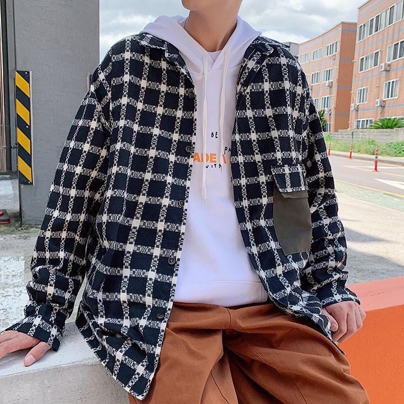 Moda autunno Plaid Shirt uomo Hit retro di cotone di colore camicia casuale Shirts manica lunga Streetwear selvaggio allentato Mens M-2XL