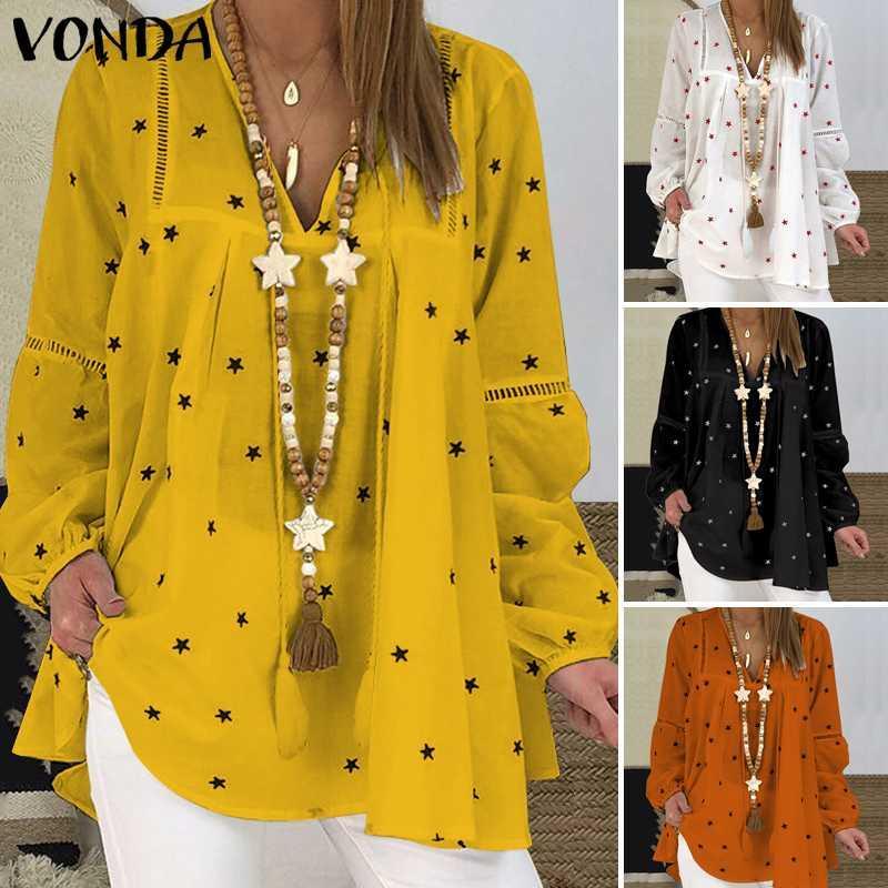 Плюс Размер Блузы Женщина Вонд 2020 Vintage V шея Star Printed Tops Осеннее Длинных фонарики рукав рубашки Пляж Повседневной партия Blusas