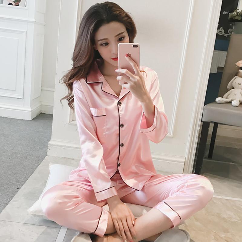 Traje las mujeres del satén de seda pijamas pijamas Set de manga larga ropa de dormir Pijama Mujer Donna Inicio desgaste de la noche atractiva del pijama femme Plus Tamaño1