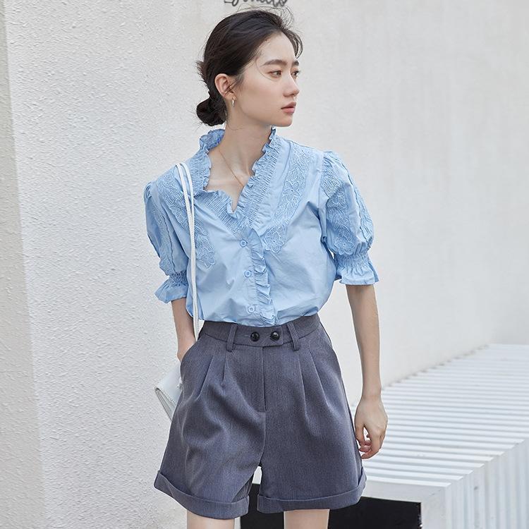 5rGRi 2.020 madeira bolha ouvido manga de Verão de Mulheres novo estilo coreano Hong clara pequena camisa do estilo Kong solta emagrecimento camisa de manga curta