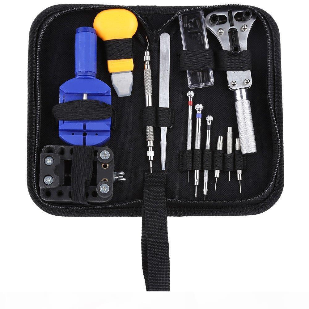 Wholesale-13pcs Uhr-Reparatur-Werkzeug-Kit Set-Uhr-Kasten-Öffner-Link-Frühlings-Stab-Remover-Schraubenzieher Tweezer Uhrmacher- spezielles Gerät