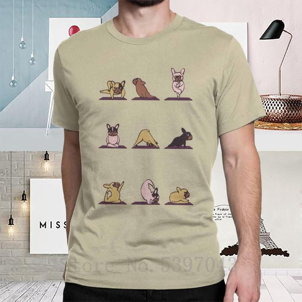 Frenchie Yoga Erkek T Gömlek Spor Gevşeme Karikatür Egzersiz Hayvan Çılgın Tees kısa kollu t-shirt Giyim% 100 Pamuk Yaz