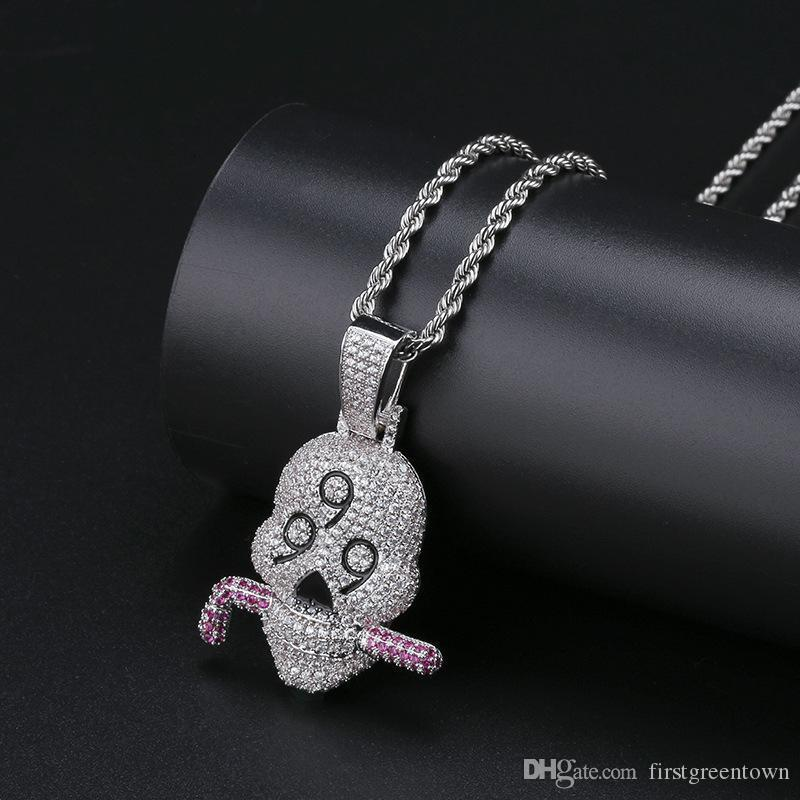 999 Skull Pendant Micro-zircon Solid Necklace Jewelry for Men Hip-hop Personality Fashion Necklace