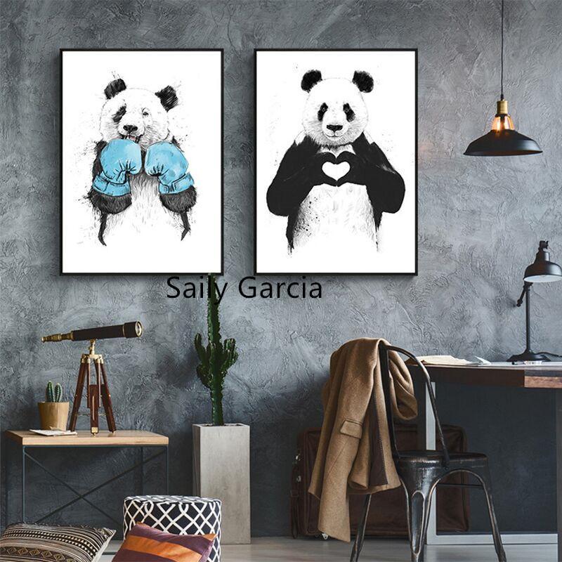 Komik Dev Panda Fighter Karikatür Poster Modern Çocuk Odası Duvar Sanatı Resim Ev Dekorasyonu Tuval yok Frame Boyama yazdır