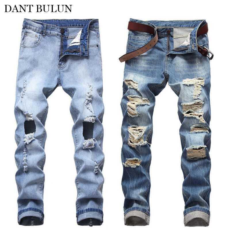 Moda Ripped Jeans For Men Azul Biker Jeans Hombre magro Slim Fit Homens Distressed Denim Pants Hip Hop da motocicleta Calças