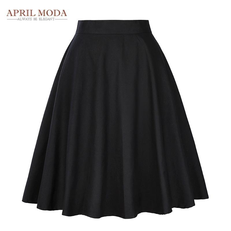 우아한 높은 허리 주름 스커트 블랙 무릎 길이 플레어 스커트 레트로 빈티지 50 년대는 로커 빌리 스커트 여성 Faldas SAIA Jupe 스윙