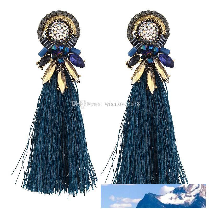 I nuovi monili placcato oro fiore della pietra preziosa Orecchini per le donne Nero Blu Beige Cotton Fringe Orecchini nappa lunga ciondola gli orecchini Bohemian