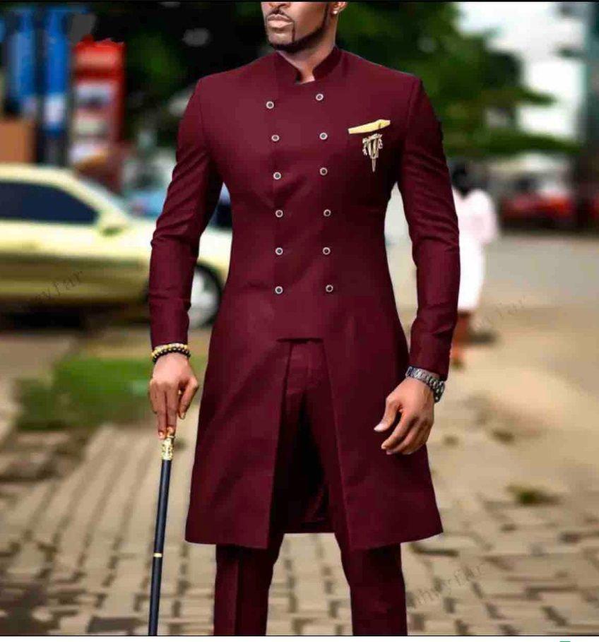 Collier de stand Bourgogne Serge smokings marié Mode longue Groomsmen mariage Smokings hommes Veste Blazer Prom costume (veste + pantalon + cravate) 336