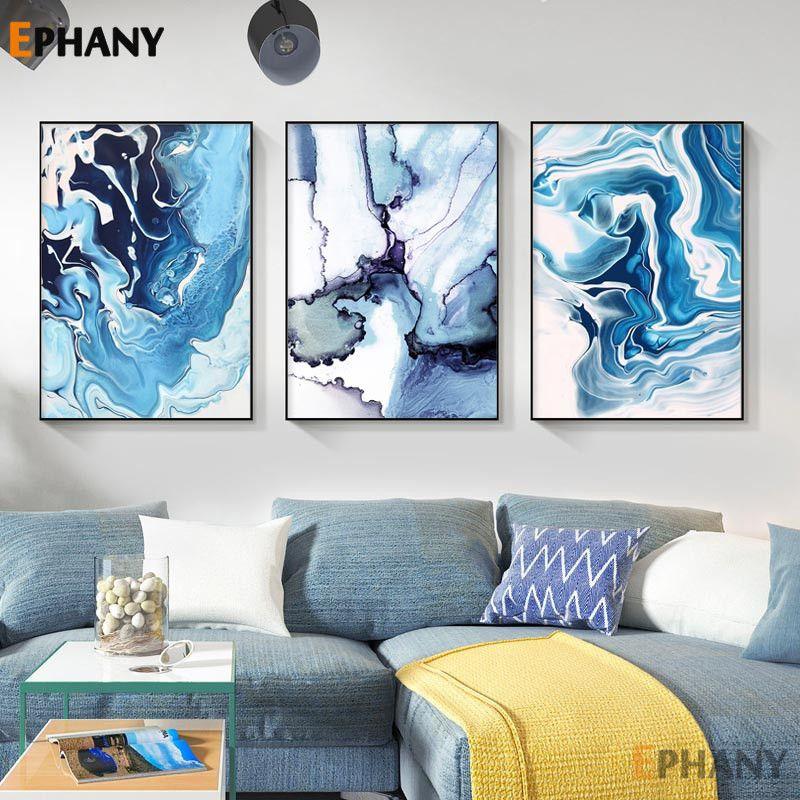 Salon Modern Ev Dekorasyonu için resmi Boyama Mavi Soyut Okyanus Wall Art Kanvas Poster Baskı Minimalist İskandinav Dekoratif