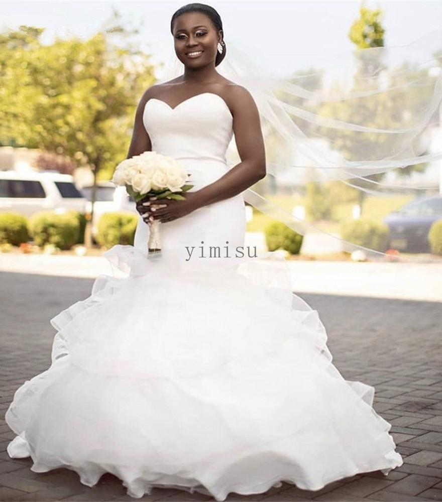 White Mermaid Wedding Dresses 2020 Sweet Heart Cascading Ruffles Sweep Train Plus Size Bridal Gowns vestidos de novia robes de mariée
