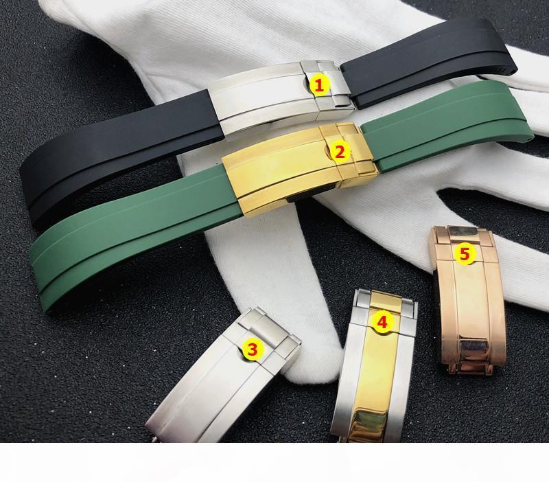 20MM لينة أسود أخضر سيليكون المطاط مربط الساعة حزام على حزام دور للGMT OYSTERFLEX سوار الشعار على