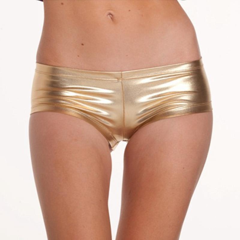 bayan seksi gece bar kulüp şort kadınlar altın gümüş Mini suni deri kısa pantolon katı parlak düşük bel kısa