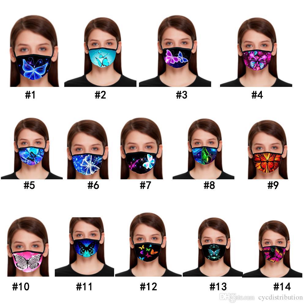 Teste padrão de borboleta Máscara Facial de impressão 3D com máscaras máscaras de algodão reutilizável cara Out Door Esporte equitação Máscara Moda